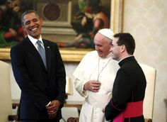 President Obama....enjoying a laugh with Pope Francis