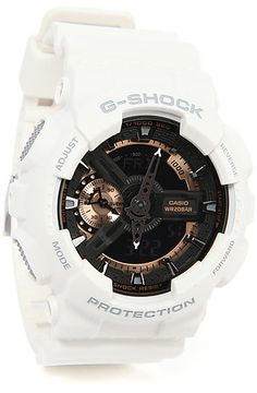 G-Shock Watch 110 in White, Black, & Rose Gold