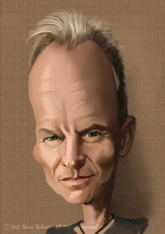 Sting caricature by Steve Roberts