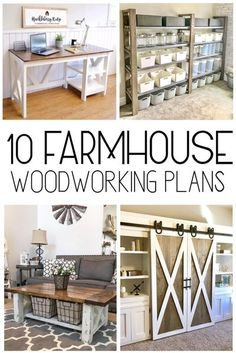 Check out these 10 free farmhouse woodworking plans for your home #woodworkingplans #farmhouse #diy Apartment Decoration, Decoration Bedroom, Diy Home Decor, Diy Decoration, Wall Decor, Decorations, Wall Art, Woodworking Furniture Plans, Easy Woodworking Projects