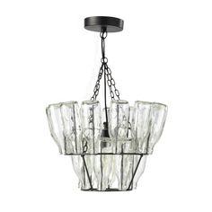 Lampada sospesa con bottiglie in metallo e vetro nero L 38 cm FAUBOURG