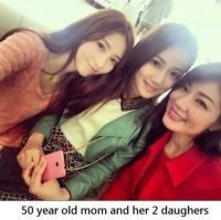 50 Year old mom and her 2 daughters - WTF fun facts: Plastic Surgery and botox --definitely. the daughters too (seeing that they are korean) nothing wrong with it but its not sorcery or anything Wtf Fun Facts, Funny Facts, Random Facts, Asian Aging, Japan Facts, Meanwhile In, 50 Years Old, Weird World, Plastic Surgery