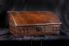 Charles I oak writing slope, Marhamchurch antiques