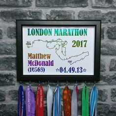 Marathon Medal Holder Frame Personalised Running Gift Foil
