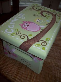 Light Green Square Owl Step Stool - Brooke Owl - Custom Customize - Bedroom Bathroom Decoration - Wooden