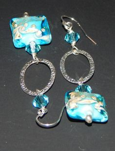 Turquoise Sand Lampwork Earrings by LisasOriginals on Etsy