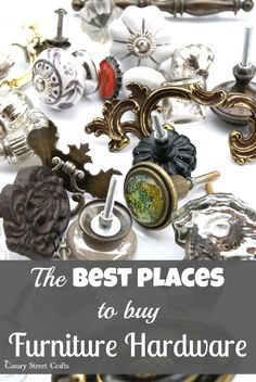 To Buy Furniture Hardware A huge list of places to buy hardware for furniture. {Canary Street Crafts}A huge list of places to buy hardware for furniture. Street Furniture, Old Furniture, Refurbished Furniture, Paint Furniture, Repurposed Furniture, Furniture Projects, Furniture Makeover, Vintage Furniture, Furniture Refinishing