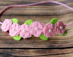 Felt flower garland headband by muffintopsandtutus on Etsy