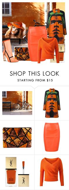 """Orange game"" by ema123-clxvi ❤ liked on Polyvore featuring WALL, Moschino, WithChic and Yves Saint Laurent"