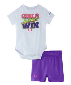 Look what I found on #zulily! White 'Girls Always Win' Bodysuit & Shorts - Infant #zulilyfinds