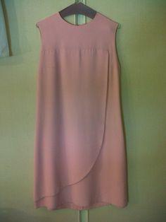 70s pink gabardine cocktail dress