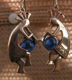 Sterling Silver Kokopelli Earrings With Cobalt Blue