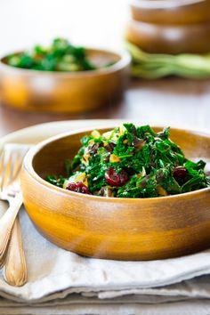 Balsamic Kale with Cranberries: fresh and full flavored (gf, vegan).