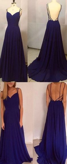 Unique Prom Dresses, Simple A-Line Spaghetti Straps Backless Royal Blue Long Prom Dress, There are long prom gowns and knee-length 2020 prom dresses in this collection that create an elegant and glamorous look Royal Blue Evening Dress, Royal Blue Prom Dresses, Blue Evening Dresses, Unique Prom Dresses, Sexy Dresses, Pretty Dresses, Evening Gowns, Evening Party, Simple Dresses