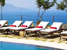 Rethymno villa rental - The Villa's stone paved terrace enjoys breathtaking views of natural beauty! Crystal Clear Water, Sun Lounger, Terrace, Swimming Pools, Natural Beauty, Bbq, Villa, Park, Stone