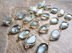 Swiss Blue Topaz Gemstone Connectors in 22KT Gold by loveofjewelry