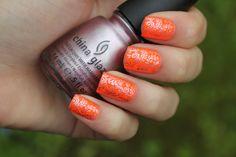 Nail art with stamping #nailart #orangenails