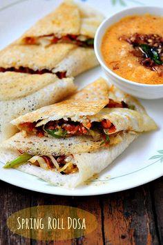 Vegetable Spring Roll Dosa Recipe - Easy Dosa Recipes