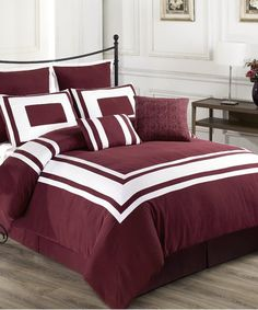 Exceptional Sheets Burgundy Lux-Décor Down-Alternative Comforter Set | zulily