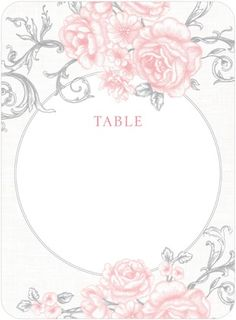 Printable Table Numbers Antique Rose Scrolls - Front : Burst