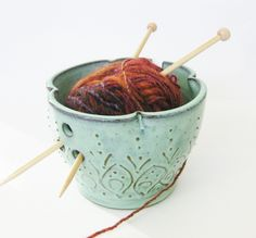 """Mediterranean Pottery Yarn Bowl - Aqua Rain Verdigris - OOAK - Indie Home Decor. 38.00USD, by BlackBayPottery via Etsy. """"This pretty yarn bowl will comfortably hold a ball of yarn & keep it from rolling away from you while you work on your project. The yarn bowl is made from dark red stoneware clay & glazed in a beautiful aqua colour."""""""