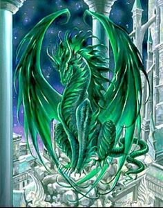 This piece is part of Dragon Realm which includes: Inferno, Quicksilver, Obsidian, Midnight Dawn, Riptide and Monarch. Dragon Vert, Green Dragon, Magical Creatures, Fantasy Creatures, High Fantasy, Fantasy Art, Emerald Dragon, Dragon's Lair, Dragon Artwork