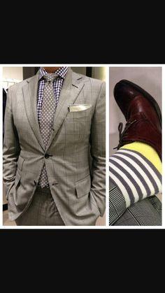 Grey Yellow Socks