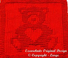 "Knitting pattern for Sweetheart Teddy Bear wash cloth or afghan block - Finished Size: 8""W X 9.75″H"