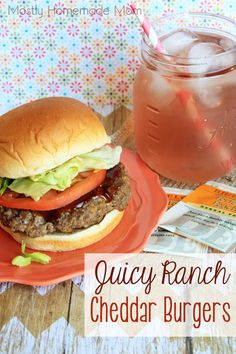 Mostly Homemade Mom: Juicy Ranch Cheddar Burgers - with Perfect Peach Iced Tea!