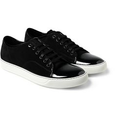 LANVIN Suede and Patented Leather Sneakers