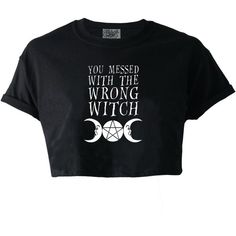 Darkside You Messed With The Wrong Witch Crop Top ❤ liked on Polyvore featuring tops, goth crop top, punk tops, gothic tops, goth tops and cut-out crop tops
