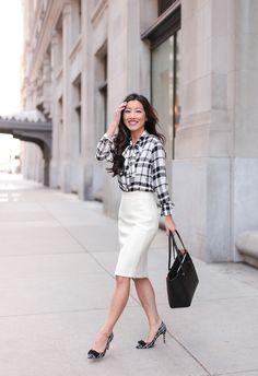 white pencil skirt petite women work wear