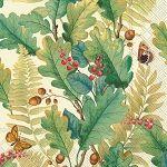 IHR Oak Tree Cream Autumn Leaves Fall Foliage Designer Print 3-Ply Luncheon Napkins Wholesale L528360