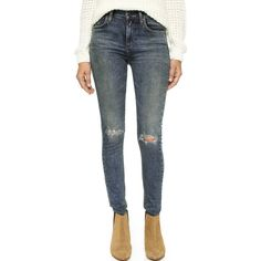 A Gold E Sophie High Rise Skinny Jeans ($150) ❤ liked on Polyvore featuring jeans, valencia, ripped jeans, stretch denim skinny jeans, high rise jeans, distressed jeans and destroyed jeans