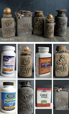 DIY Spell bottles with Hot Glue & (chalk) paint.