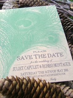 Peacock Save the Date Cards Eco Friendly also by sweetcookie. $40.00, via Etsy.