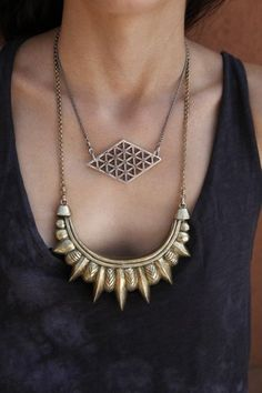 www.cewax.fr aime ce collier style ethnique afro tendance tribale bronze Large Tribal Necklace by Pamela Love