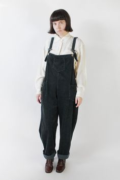 Vintage 90s Faded Black Corduroy Oversized Overalls | 4-8