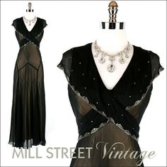 Vintage 1930s Black Sheer Silk Crepe Rhinestone Glass Bead Wrap Slip Cocktail Party Wedding