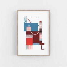 Geometric Artwork, Blue Artwork, Modern Office Decor, Office Art, Berlin, Bauhaus Style, Living Room Art, Botanical Art, Red And Blue