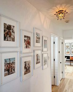 hallway decorating 256071928799361681 - 11 decorating ideas for a humdrum hallway Source by livabl Hallway Pictures, Family Pictures On Wall, Hallway Wall Decor, Hallway Walls, Hallway Ideas, Hallway Decorations, Photo Wall Collage, Picture Wall, Images Murales
