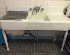Amazing Condition Rare Antique Farm Sink With Built In Dishwasher  Drainboard Apron Highback