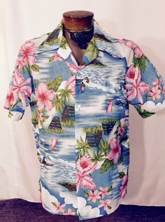 a8a7692d Vintage Mens Hawaiian Shirt w Pocket Giant Pink Hibiscus Flowers Palm Trees  Surf Aqua &