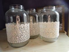 3 db nagyméretű csipkés üveg: beletehető mécses, égősor, virág