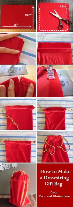 Drawstring Gift Bag Tutorial from Poor and Gluten Free--Easiest Christmas Wrapping Ever--and no waste