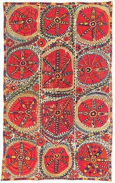 Suzani: A 'grande medaglione' uzbeka Suzani, Bukhara, Uzbekistan, prima metà del 19 ° secolo.