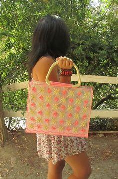 Mexican Handmade Pink and Cream Raffia by CraftsIdeasComeTrue