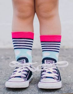 Buy Jefferies Socks Girls Dots & Stripes Crew Socks 6 Pair Pack and many other girls socks. Socks for everyone, we are your one stop sock shop. Striped Tights, Patterned Socks, Pink Purple, Aqua, Boys Socks, Sock Shop, Trendy Girl, Heather White, Wide Stripes