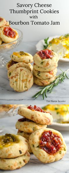 Cheesy Thumbprint Cookies with Bourbon Tomato Jam ( Savory Cookies )! Awesome! Buttery, herby cookies with delicious cheddar cheese, and an amazing tomato jam! Comes together easily and its PERFECT as an appetizer, party food, or as a snack!