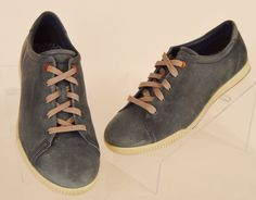 Ecco womens solid blue leather lace up fashion sneaker Sz 9.5 40 Pre-owned #ECCO #FashionSneakers